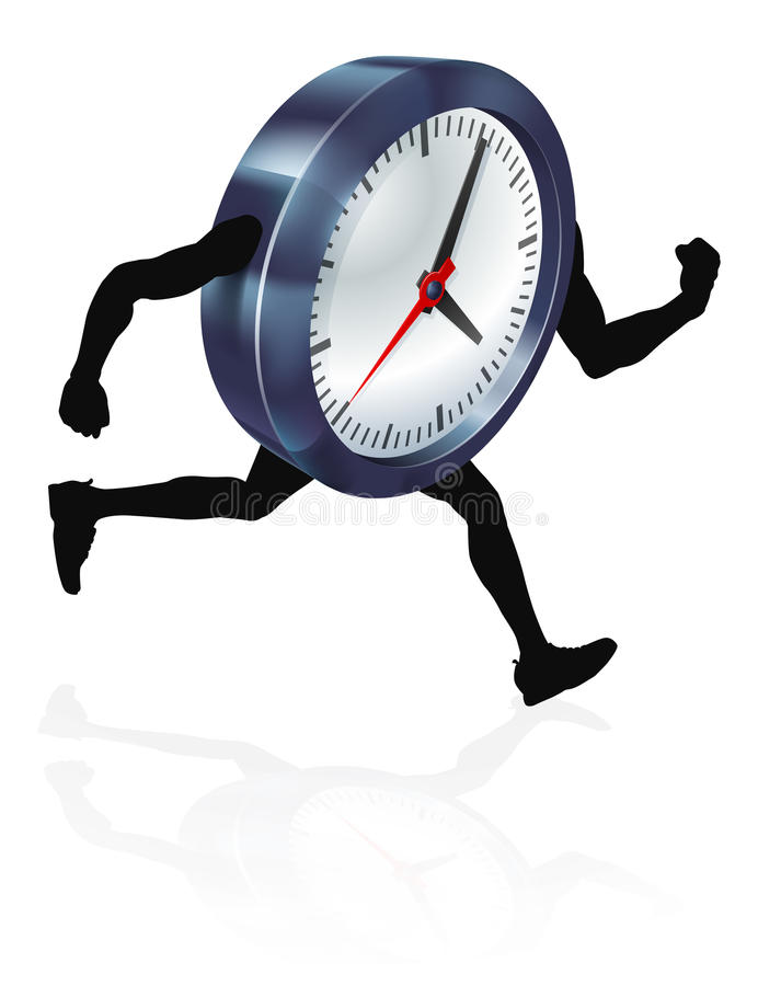 Running Time Concept Clock. A clock character running, concept for time pressure or running out of time, or running against the clock stock illustration