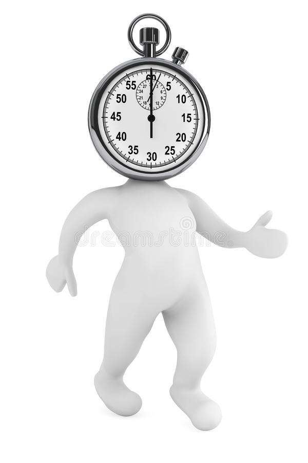 Running time concept. 3d person as stopwatch. On a white background royalty free illustration