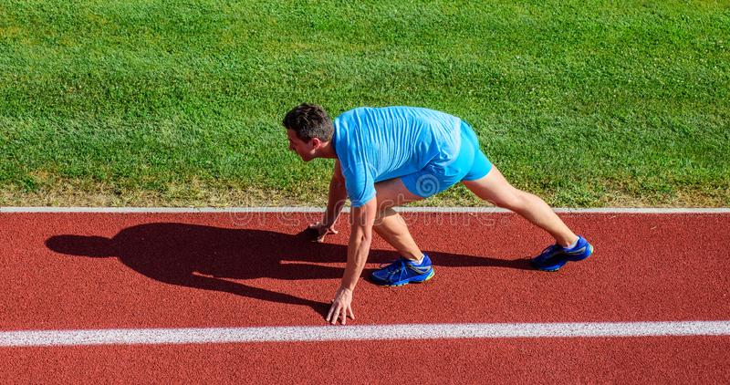 Running tips for beginners. Runner ready to go. Joint mobility exercises to improve flexibility and function. Athlete. Runner prepare to race. Man athlete stand stock photos