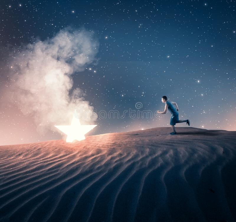 Running to a fallen star royalty free stock photography