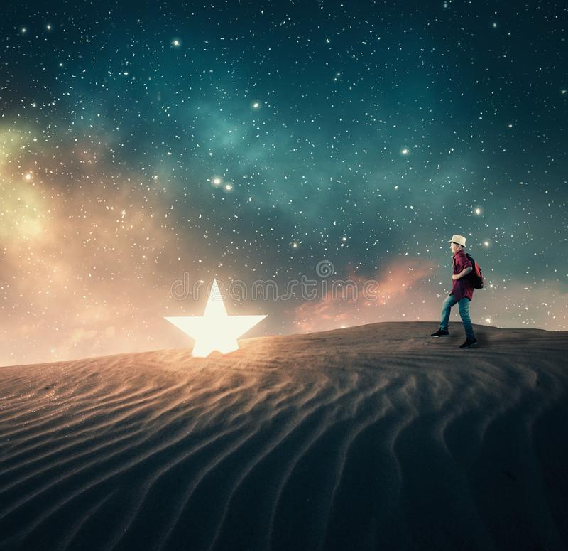 Running to a fallen star royalty free stock photos