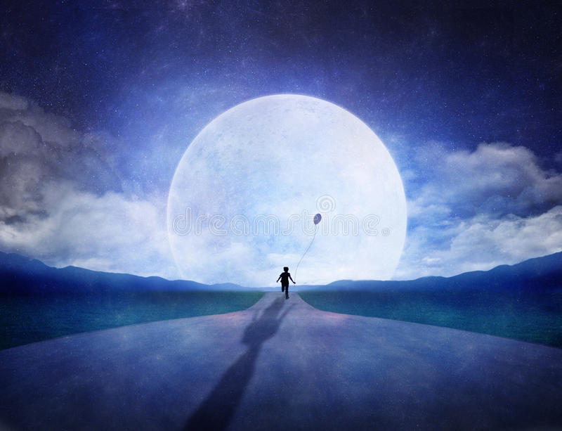 Running to the moon royalty free illustration