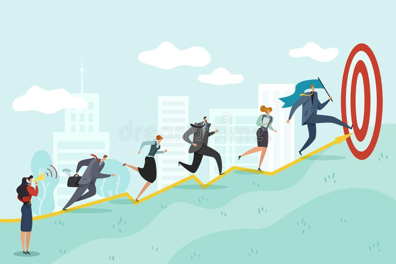 Running to target. Business persons racing to success corporate professional reaching, ambition goals vector concept royalty free illustration