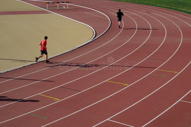 Running track. View on the athletics running track royalty free stock images