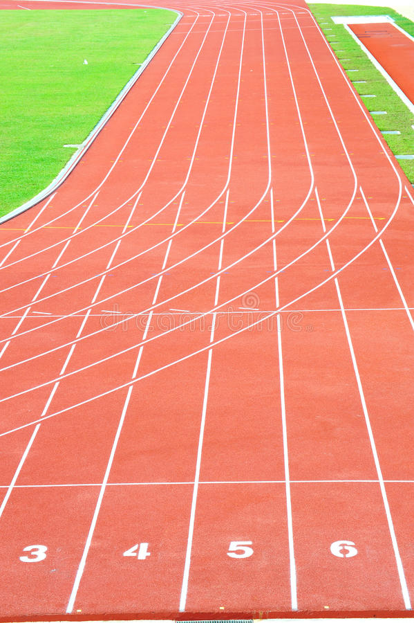Running Track. Numbered Running Track In A Stadium royalty free stock photo