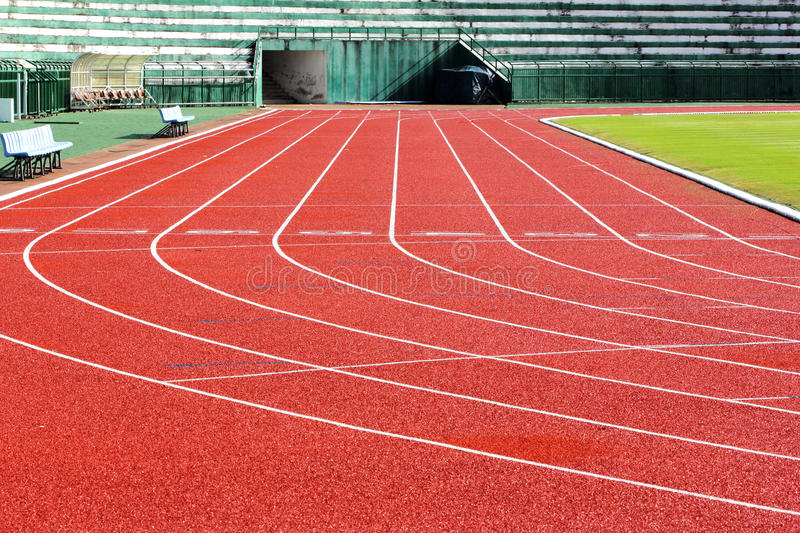 Running track. Lanes in a stadium royalty free stock photos