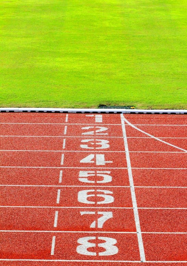 Running track. Start or finish position on running track stock photos
