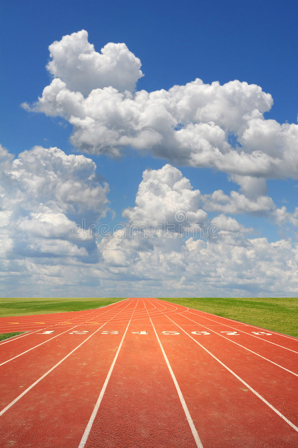 Running Track. Olympic running track on a sunny day stock photo