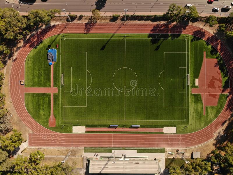 Running track stadium and soccer field royalty free stock image