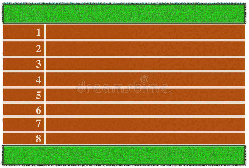 Running track. From a bird's perspective showing the 8 lanes with lawn on the two sides royalty free illustration