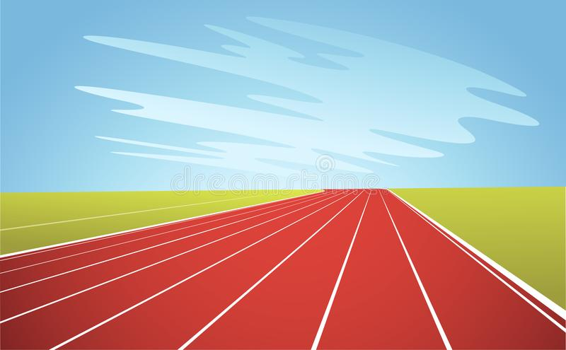 Running Track and Blue Sky. Illustration royalty free illustration