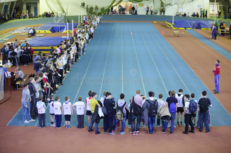 Running track at children competition stock photos