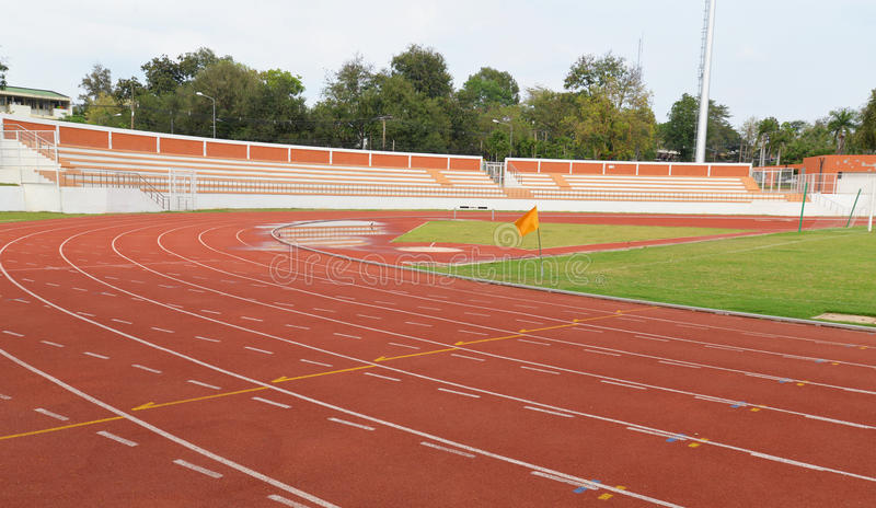 Running track lines. View of running track lines of Stadium in the park stock image