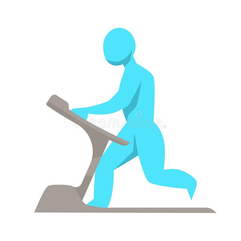 Running track male figure on training apparatus. Healthy lifestyle and sport running track male figure on training apparatus vector isolated man silhouette on vector illustration