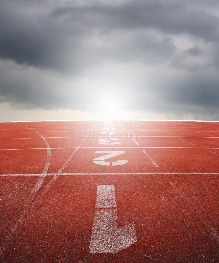 Free Running Track One Two Three With Raincloud Stock Image - 26119571