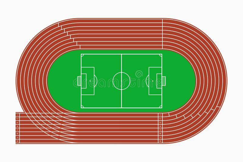 running track and soccer or football field  top view of sport stadium  vector  stock vector