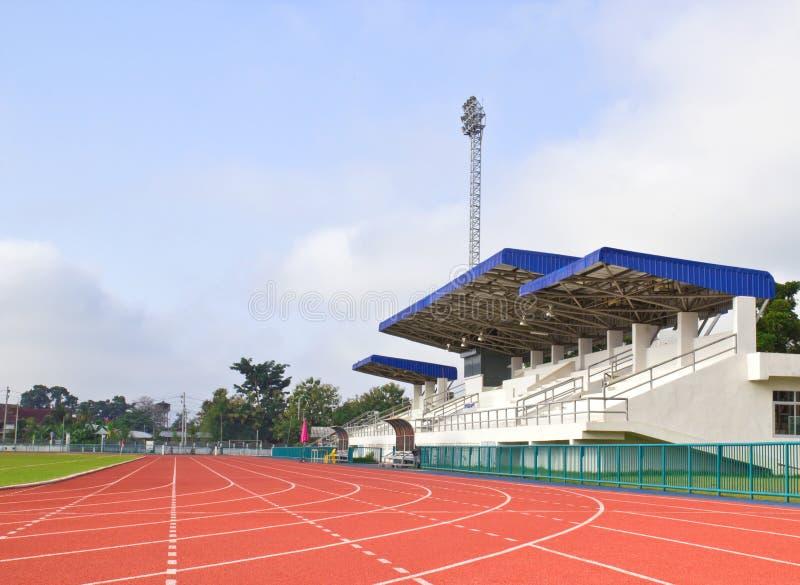 Running track and stadium main stand stock photos