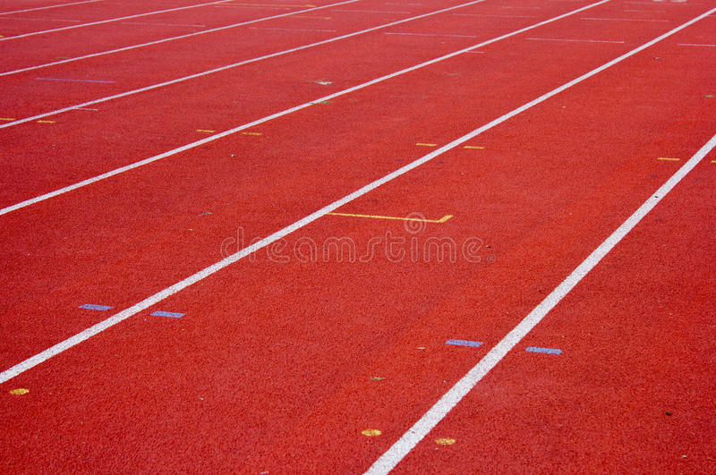 Running Track in Stadium. One, two, three stock photo