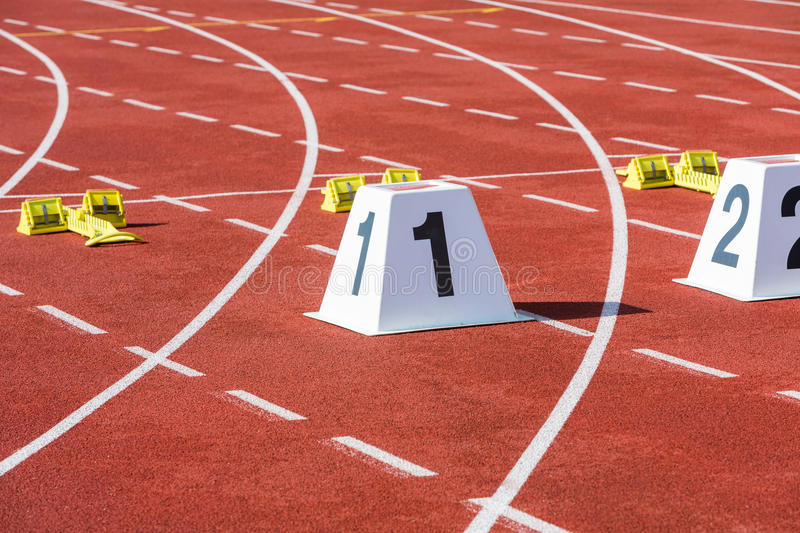 Running track start line. Statium running track with start line and number 1 stock photos