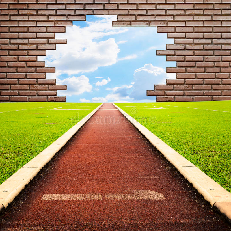 Free Running Track Through Brick With One Lanes To Sky Royalty Free Stock Images - 25155029