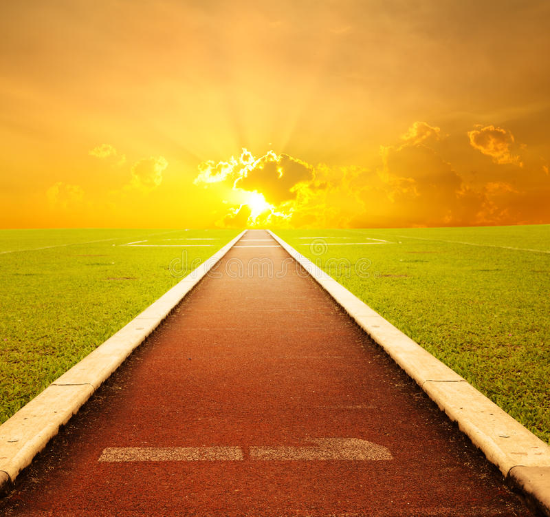 Free Running Track With One Lane With Sunset For Succes Stock Photo - 26119210