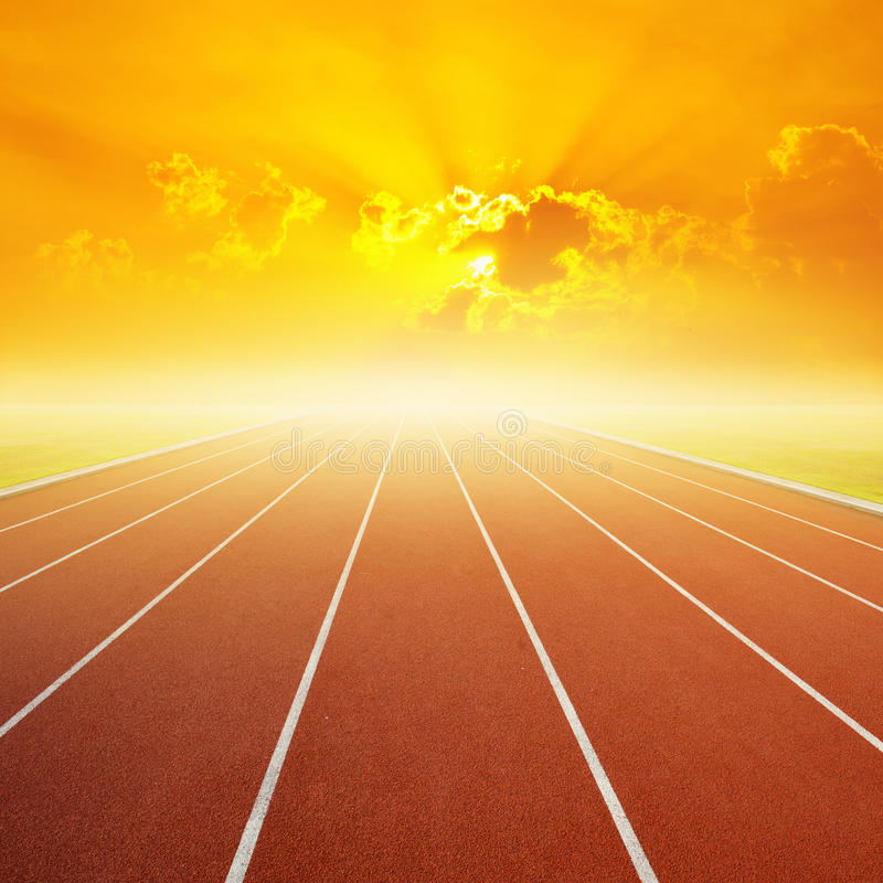 Free Running Track With One Lanes With Sky Sunset Royalty Free Stock Photos - 41061288