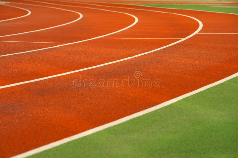 Running tracks in a sports area stock photography