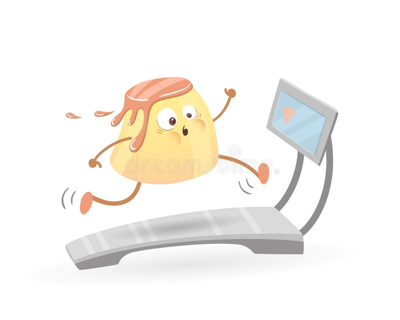 Running on the treadmill pudding. The pudding runs on the treadmill in order to lose weight. The ironic drawing. Vector illustration isolated on white background stock illustration