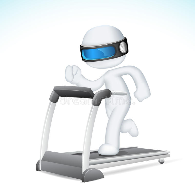 running treadmillvektor för man 3d stock illustrationer