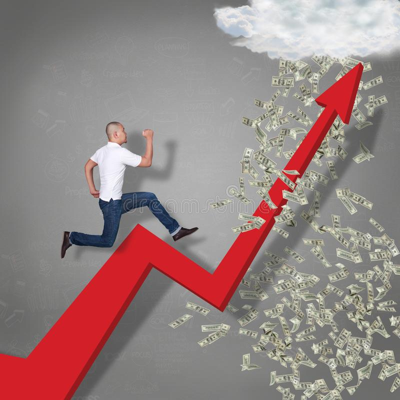 Running Trough Business Growth Arrow to Rain of Money stock image