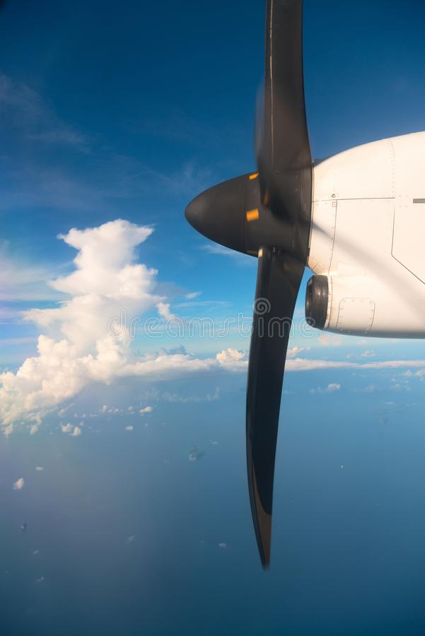 Download Running Turbo Airplane Propeller In Blue Sky Above The Sea Stock Image - Image: 102084407