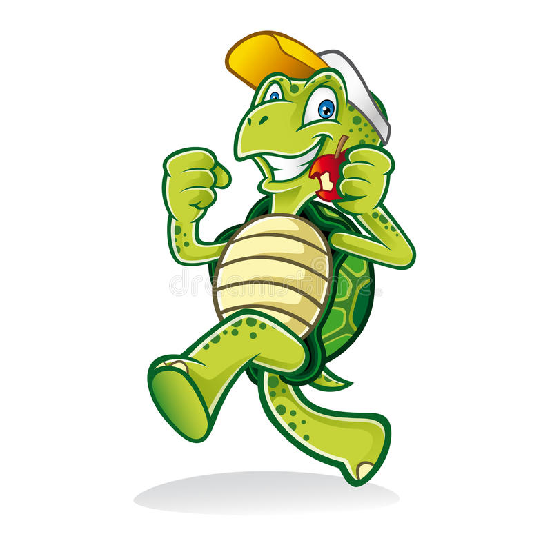 Running Turtle. Cartoon turtle was running cheerfully while eating an apple and wearing a hat stock illustration