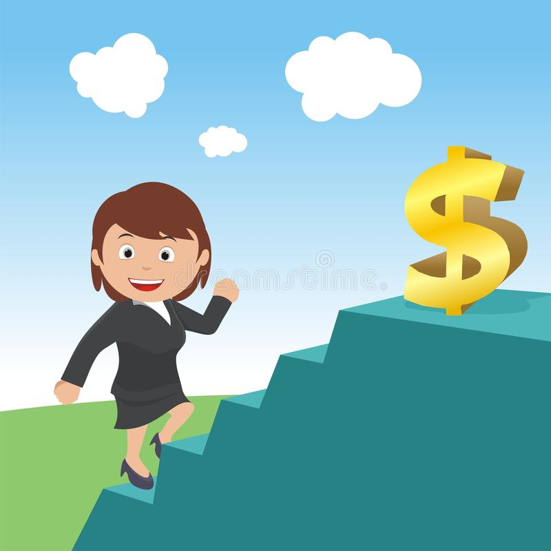 Running up to get dollar signs stairs vector illustration