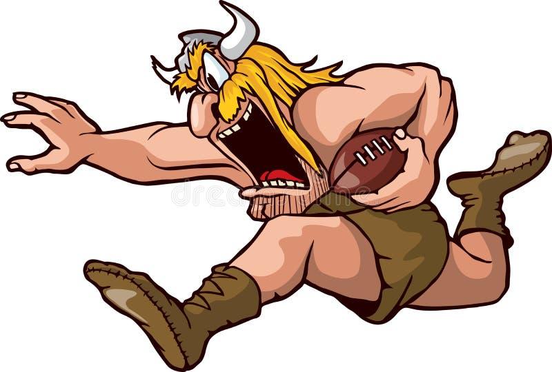 Running Viking. Cartoon Viking running with a football. Vector and high resolution jpeg files available royalty free illustration
