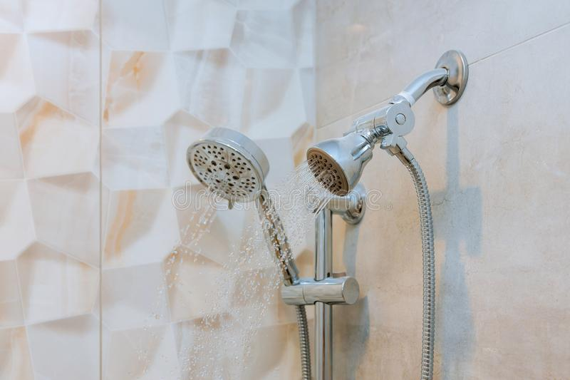 Running water of shower faucet royalty free stock photo