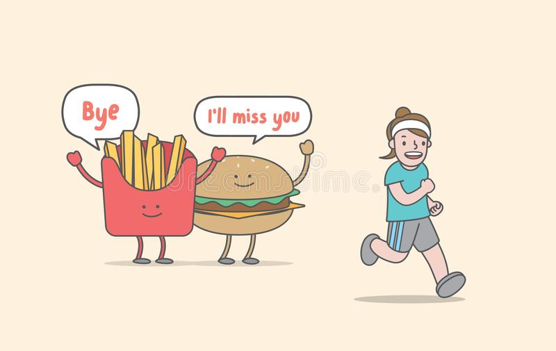Running for weight loss junk food & woman character illustrati royalty free illustration