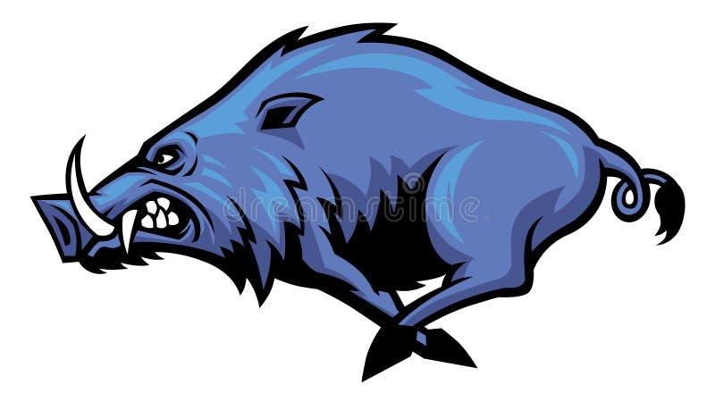 Running wild hog mascot. Vector of running wild hog mascot royalty free illustration