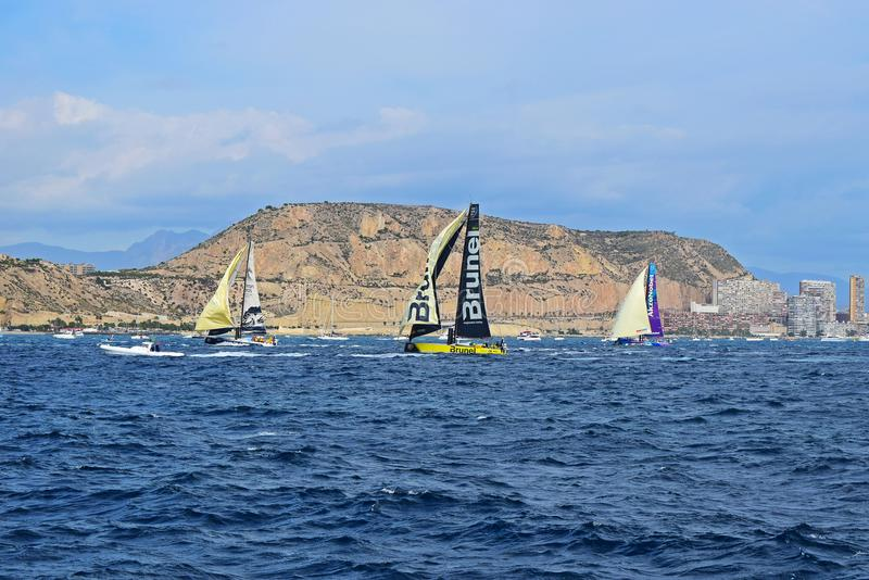 Running With The Wind Volvo Ocean Race Alicante 2017. Big head sails and spinnakers up in Alicante bay on the first leg of the round the World race stock image