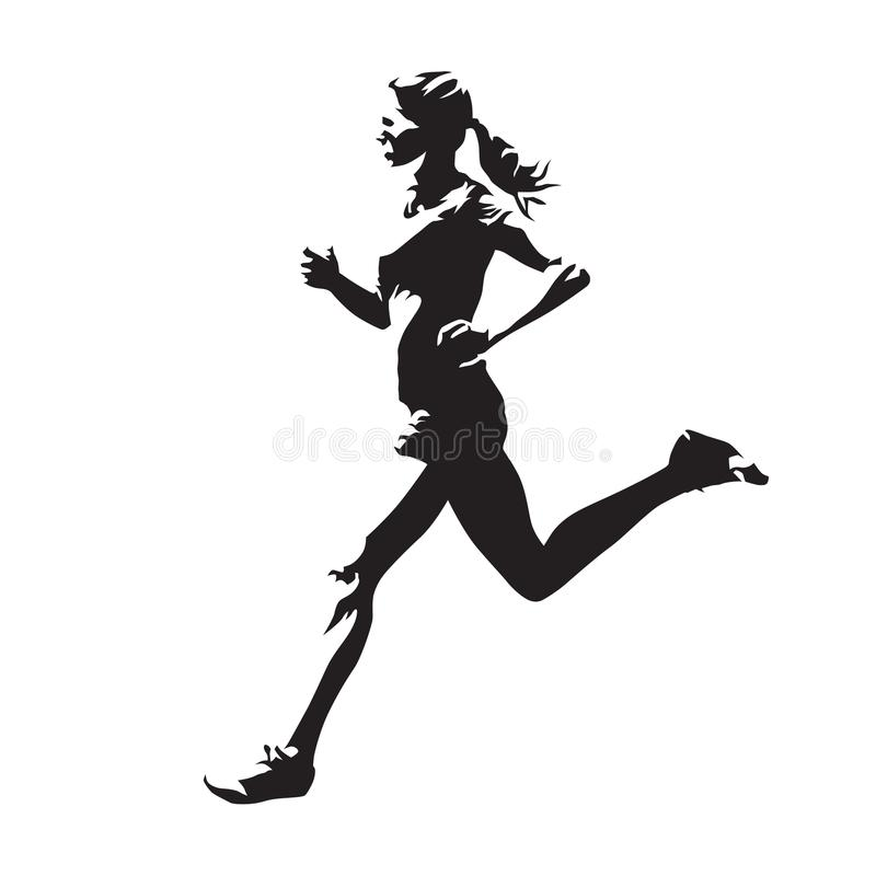 Running woman, abstract vector silhouette, side view. Young running woman, abstract vector silhouette, side view. Jogging girl royalty free illustration