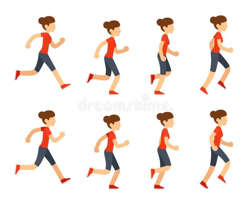 Running woman animation royalty free illustration