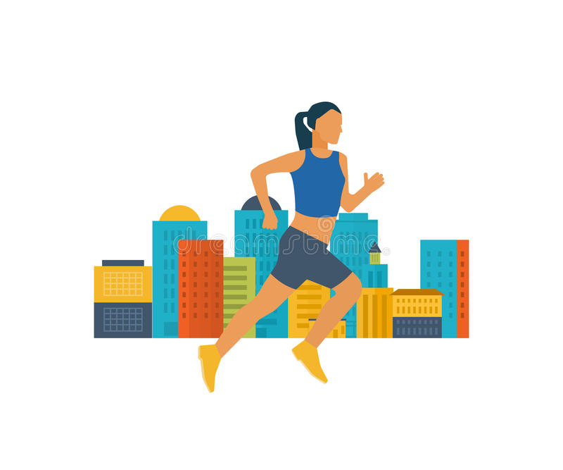 Running woman. Healthy lifestyle, fitness and physical activity concept. Running woman. Modern flat vector icons of healthy lifestyle, fitness and physical vector illustration