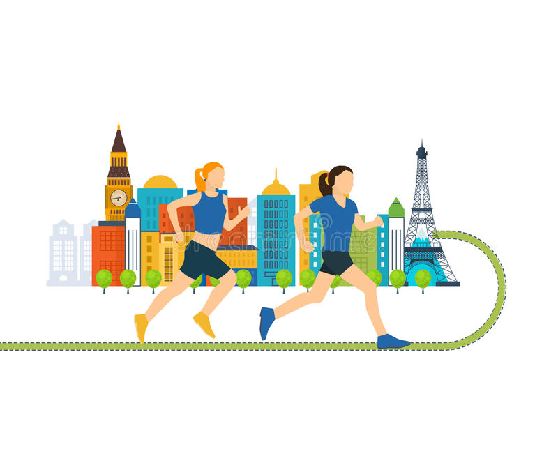 Running woman. Healthy lifestyle, fitness and physical activity concept. Running woman. Run in Europe. Color line icons of healthy lifestyle, fitness and royalty free illustration