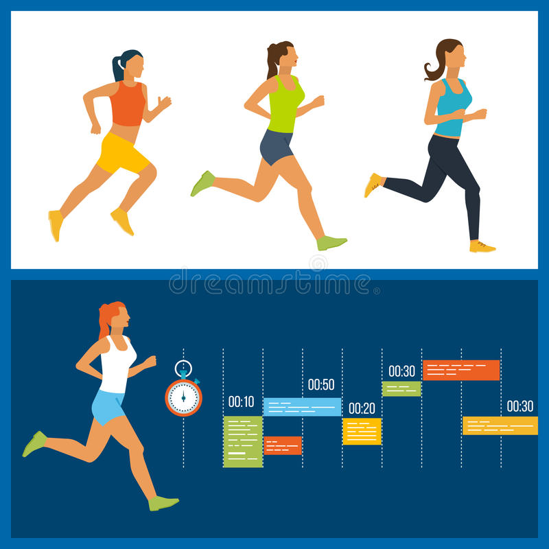 Running woman. Healthy lifestyle, fitness and physical activity concept. Running woman. Training Schedule. Modern flat vector icons of healthy lifestyle vector illustration