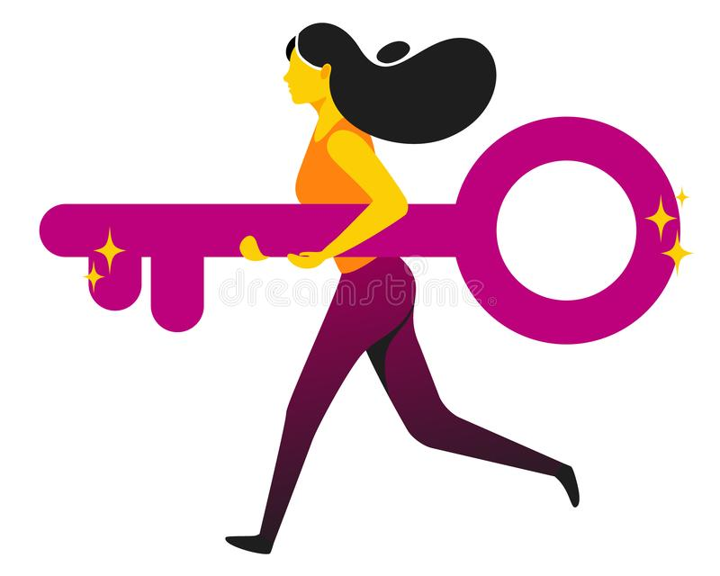 Running woman holding giant key. Concept business vector royalty free illustration