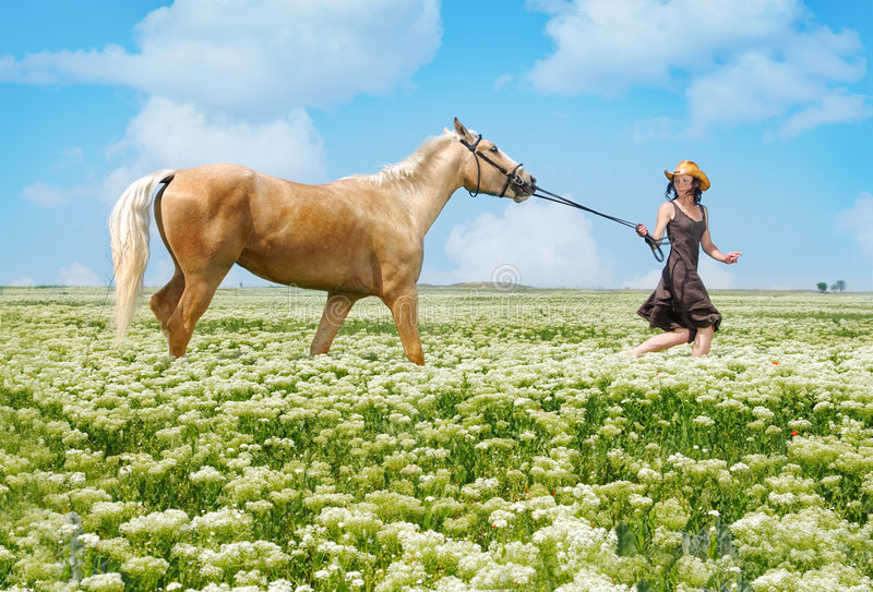 Running woman and horse. Photo of the running horsewoman and horse in summer field royalty free stock photography