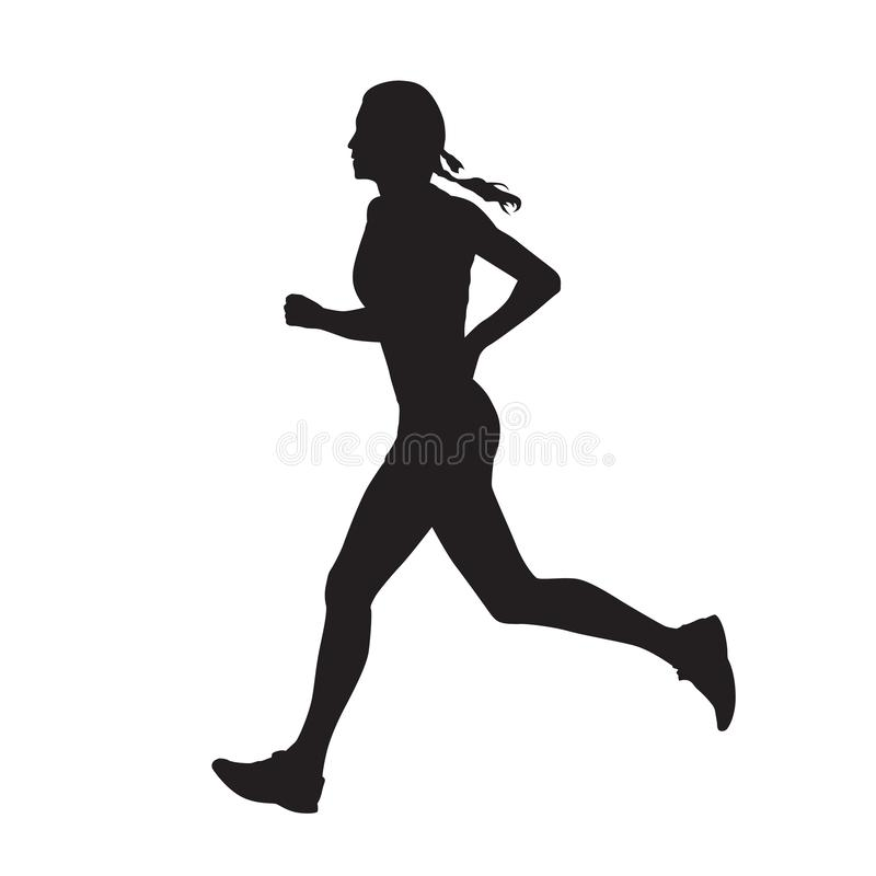 Free Running Woman, Isolated Vector Silhouette. Side View. Run, Girl Royalty Free Stock Photos - 153394438