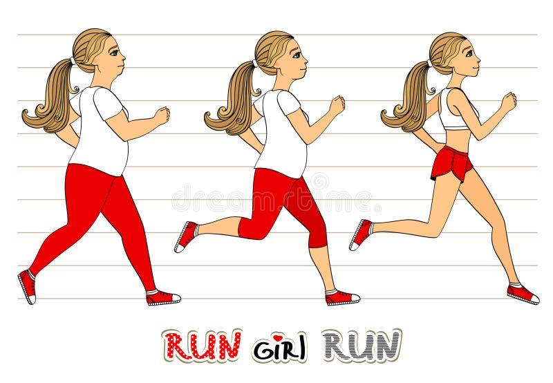 Running woman weight loss progress vector illustration