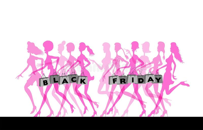 Running women silhouettes with shopping bags for black friday. All the objects are in different layers and the text types do not stock illustration