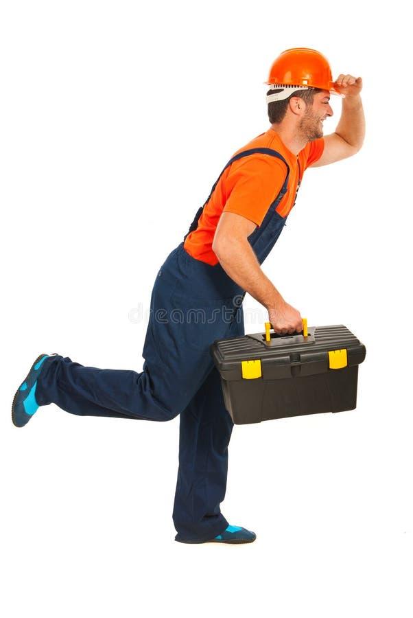 Running workman royaltyfri fotografi