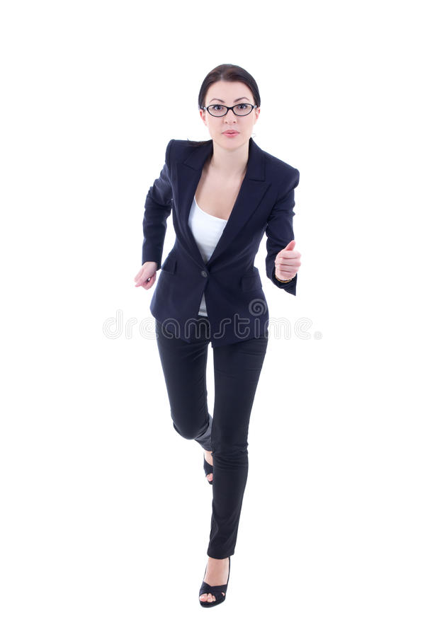 Running young business woman in suit isolated on white. Background royalty free stock photos